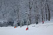 Winter Snow, Berks Co., PA Scene , Sledding at Gring's Mill