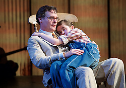 To Kill a Mockingbird <br /> by Harper Lee <br /> at The Barbican Theatre, London, Great Britain <br /> rehearsal <br /> 25th June 2015 <br /> <br /> Ava Potter as Scout <br /> <br /> Robert Sean Leonard as Atticus Finch<br /> <br /> Photograph by Elliott Franks <br /> Image licensed to Elliott Franks Photography Services
