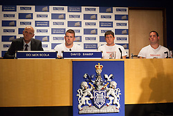 © licensed to London News Pictures. London, UK 06/08/2012. A press conference takes place for missing 12-year-old Tia Sharp with (left to right) Detective Chief Inspector Nick Scola, David Sharp (uncle of Tia Sharp) and family friends: Mark Havers and Steven Subine in New Scotland Yard. Tia is being searched around Croydon area and she has been missing for nearly 3 days. Photo credit: Tolga Akmen/LNP