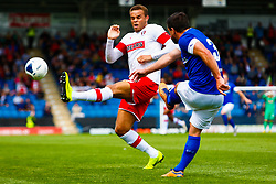 Carlton Morris of Rotherham United attempts to cut out a long ball by David Buchanan of Chesterfield - Mandatory by-line: Ryan Crockett/JMP - 20/07/2019 - FOOTBALL - Proact Stadium - Chesterfield, England - Chesterfield v Rotherham United - Pre-season friendly