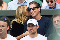 © Licensed to London News Pictures. 08/07/2016.  HEIDI KLUM and VITO SCHNABELwatch tennis on the centre court on the twelfth day of the WIMBLEDON Lawn Tennis Championships. London, UK. Photo credit: Ray Tang/LNP
