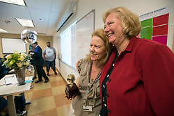 May 2, 2017 - Anaheim, California, USA - Barbara Bennett, left, is congratulated by Cheryl Marshall, chancellor of the North Orange County Community College Dristrict, after she was surprised with a 2018 Teacher of the Year Award at the School of Continuing Education - North Orange County Community College District in Anaheim, California, on Tuesday, May 2, 2017. ..Bennett, a special education teacher, is one of six teachers who were surprised with the honor by county superintendent of school Dr. Al Mija?res. ..(Photo by Jeff Gritchen, Orange County Register/SCNG) (Credit Image: © Jeff Gritchen, Jeff Gritchen/The Orange County Register via ZUMA Wire)