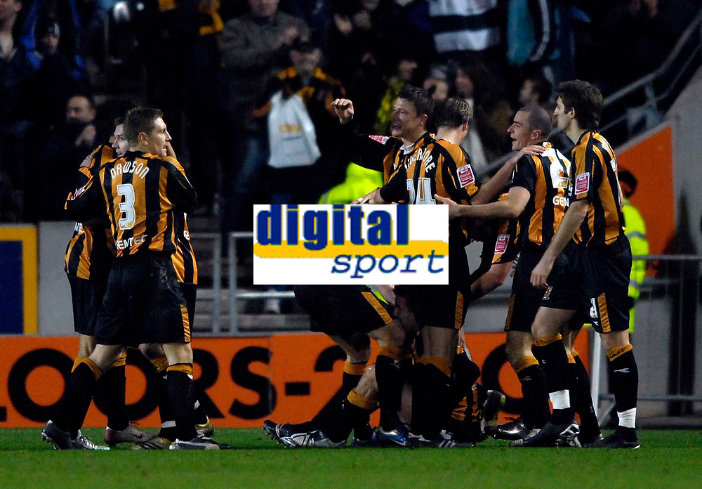 Photo: Jed Wee.<br />Hull City v Cardiff City. Coca Cola Championship. 16/12/2006.<br /><br />Hull celebrate Michael Bridges' goal that puts them 4-1 up.