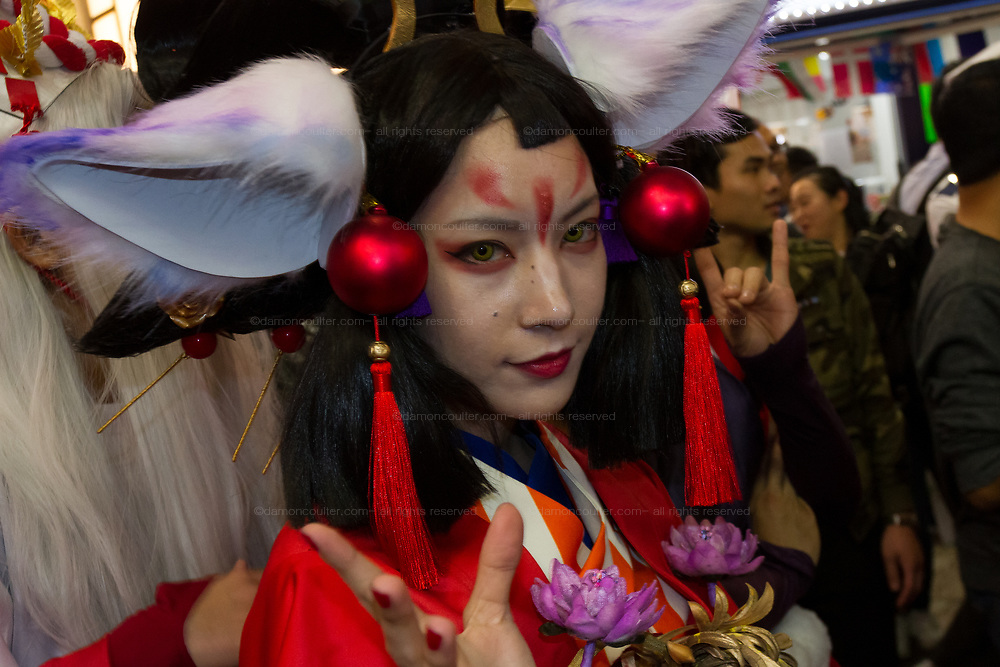 A Japanese woman wears a costume during the Halloween celebrations Shibuya, Tokyo, Japan. Saturday October 27th 2018. The celebrations marking this event have grown in popularity in Japan recently. Enjoyed mostly by young adults who like to dress up, drink , dance and misbehave in parts of Tokyo like Shibuya and Roppongi. There has been a push back from Japanese society and the police to try to limit the bad behaviour.