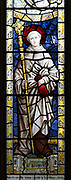 Saint Bernard depicted in stained glass window by Burlisson and Grylls 1906, All Saints church, Stanton St Bernard, Wiltshire,