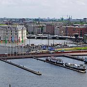 NLD/Amsterdam/20110623 - Uitzicht over oosterdokhaven vanauit Openbare Bibliotheek Amsterdam, Scheepvaartmuseum