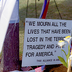Thai Alliance Memorial Sign at Pentagon 911 site of American Airlines Flight 77 crashed into the Pentagon on September 11, 2001. Pentagon a week after terrorist attack on 9/11