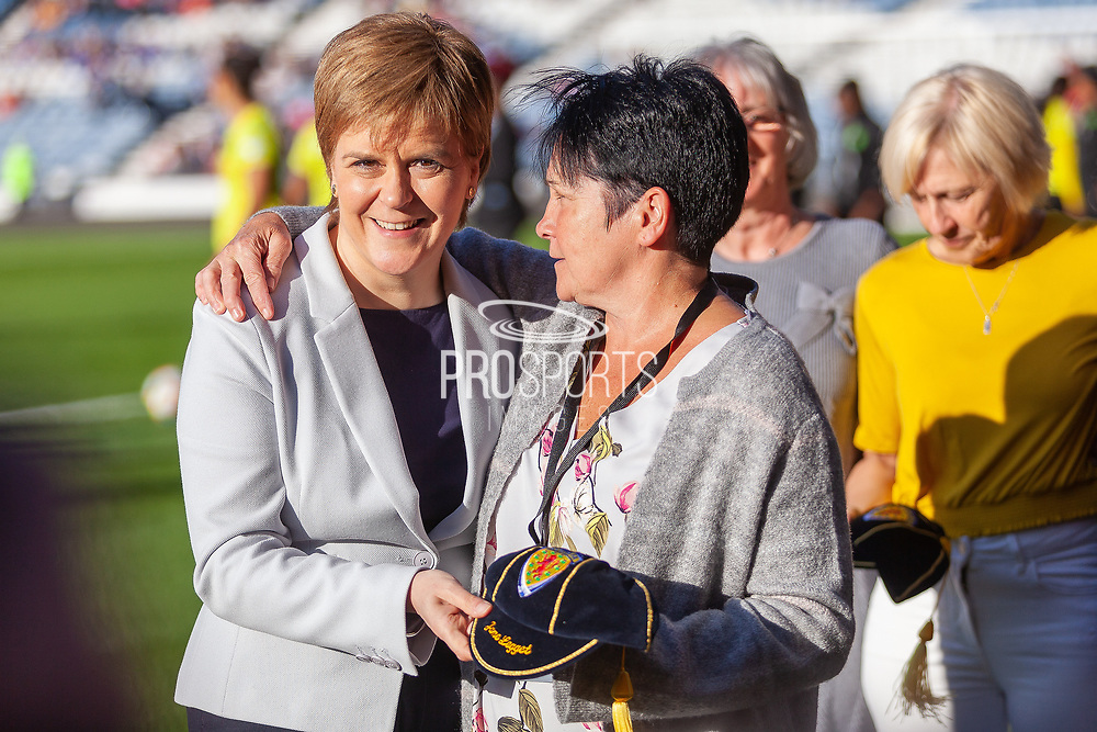 First Minister Nicola Sturgeon pictured with Jane Legget following the presentation of her Scotland Cap ahead of the International Friendly match between Scotland Women and Jamaica Women at Hampden Park, Glasgow, United Kingdom on 28 May 2019.