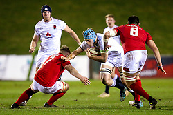 Richard Capstick of England U20 takes on Jac Morgan and Iestyn Rees of Wales U20 - Mandatory by-line: Robbie Stephenson/JMP - 22/02/2019 - RUGBY - Zip World Stadium - Colwyn Bay, Wales - Wales U20 v England U20 - Under-20 Six Nations