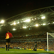 soccer  Australia V Uruguay  The ball hits the back of the net from John Aloisi to send Australia to the World Cup 2006..  LARGE FILE SIZE  171105 Tim Clayton SMH Sport SPECIALX SOCCER