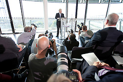 © Licensed to London News Pictures. 04/10/2012. LONDON, UK. The Mayor of London, Boris Johnson, gives a speech on London's aviation transport future as he sees it at City Hall in London today (04/10/12). Photo credit: Matt Cetti-Roberts/LNP