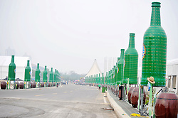 July 18, 2017 - Qingdao, Qingdao, China - Qingdao, CHINA-July 18 2017: (EDITORIAL USE ONLY. CHINA OUT) ..Hundreds of 3-meter-tall giant beer bottles can be seen on street in Qingdao, east China's Shandong Province, marking the upcoming International Beer Festival. The 27th Qingdao International Beer Festival will be held from August 4th to 27th in Qingdao. (Credit Image: © SIPA Asia via ZUMA Wire)