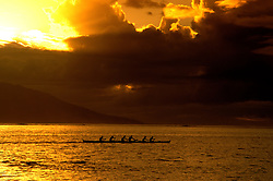 Cruising: South Pacific,Papeete, Tahiti, Sunset and rowers, Photo: crupac105  .Photo Copyright: Lee Foster, (510) 549-2202, lee@fostertravel.com, www.fostertravel.com