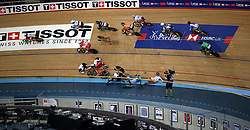 Riders collide during the Men's Omnium Scratch Race 1/4 during day three of the Tissot UCI Track Cycling World Cup at Lee Valley VeloPark, London.
