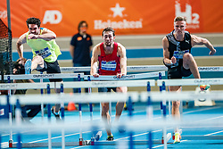 Liam Van der Schaaf, Koen Smet in action on the 60 meter hurdles final during AA Drink Dutch Athletics Championship Indoor on 21 February 2021 in Apeldoorn.