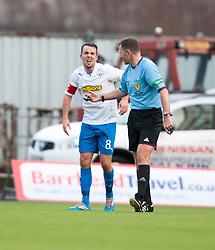 Morton's Doug Imrie injured after scoring their goal.<br /> halt time ; Falkirk 0 v 1 Morton, Scottish Championship game today at The Falkirk Stadium.<br /> © Michael Schofield.