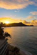 Sunrise, Diamond Head, Waikiki Beach, Oahu, Hawaii