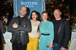 Left to right, JUSTIN HORNE, YASMIN MILLS, CAMILLA RUTHERFORD and DOMINIC BURNS at the Belvedere Balance Bar Launch Party at The Hoxton Hotel, 81 Great Eastern Street, London on 10th May 2016.