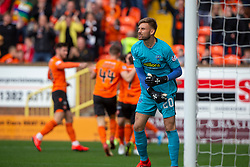 Morton's keeper Danny Rogers after Dundee United's Lawrence Shankland first goal. Dundee United 6 v 0 Morton, Scottish Championship game played 28/9/2019 at Dundee United's stadium Tannadice Park.