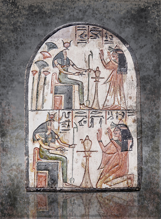 """Ancient Egyptian Ra stele , limestone, New Kingdom, 19th Dynasty, (1279-1190 BC), Deir el-Medina,  Egyptian Museum, Turin. white background, <br /> <br /> Akh iqer en Ra """" the excellent spirit of Ra' stele. One of three stele forund in different rooms of houses in Deir el-Medina where they stood in niches"""