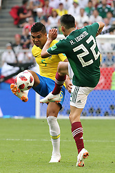July 2, 2018 - Samara, Russia - July 2, 2018, Russia, Samara, FIFA World Cup 2018, 1/8 finals. Football match of Brazil - Mexico at the stadium Samara - Arena. Player of the national team Kazemiro  (Credit Image: © Russian Look via ZUMA Wire)