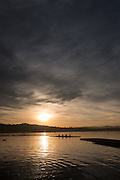 Varese. Lombardia. ITALY. General View. Varese Rowing Club. [Canottieri Varese] Province of Varese.  Sunset <br /> <br /> Monday  02/01/2017<br /> <br /> [Mandatory Credit; Peter Spurrier/Intersport-images]<br /> <br /> <br /> LEICA CAMERA AG - LEICA Q (Typ 116) - 1/3200 - f4 , Atmospheric, mist, fog, Sunrise, Sunset, Blue Hour,