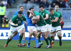 February 24, 2019 - Rome, Italy - Italy v Ireland - Rugby Guinness Six Nations.Jayden Hayward of Italy tackles on Niall Scannell of Ireland at Olimpico Stadium in Rome, Italy on February 24, 2019. (Credit Image: © Matteo Ciambelli/NurPhoto via ZUMA Press)