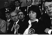 P.Ds Pre Election Press Conference. (R48)..1987..21.01.1987..01.21.1987..21st January 1987..In advance of the forthcoming General Election,The Progressive Democrat Party Launched its election manifesto. The press conference, under the auspices of party leader Des O'Malley was held at the Burlington Hotel,Dublin...Mary Harney and Pierce Wyse are pictured listening to Mr O'Malley's presentation during the press conference.