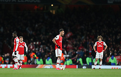 Pierre-Emerick Aubameyang of Arsenal looks dejected - Mandatory by-line: Arron Gent/JMP - 27/02/2020 - FOOTBALL - Emirates Stadium - London, England - Arsenal v Olympiacos - UEFA Europa League Round of 32 second leg