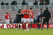Middlesbrough midfielder Jonathan Howson (16) applauds the fans at full time during the EFL Sky Bet Championship match between Middlesbrough and Derby County at the Riverside Stadium, Middlesbrough, England on 27 October 2018.
