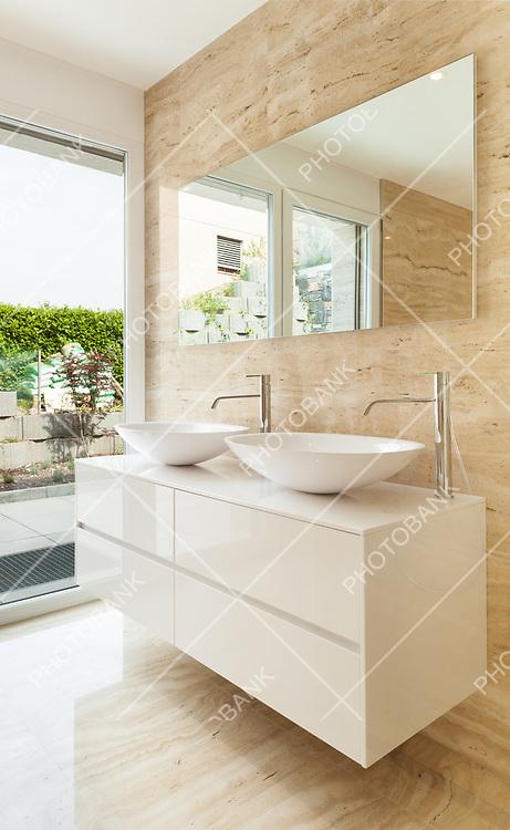 nice modern bathroom, marble walls