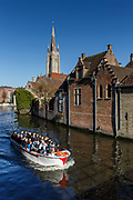 One of the many canal boat tours of Bruges. A city distinguished by its canals, cobbled streets and medieval buildings, a fascinating UNESCO World Heritage site to explore ...and large variety of chocolate shops to keep you going,