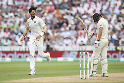 England batsman Dawid Malan is out for 20 as India bowler Mohammed Shami celebrates during day three of the Specsavers First Test match at Edgbaston, Birmingham.