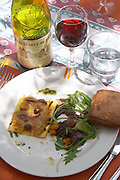 salad pissaladiere pie bread and wine restaurant verger des papes chateauneuf du pape rhone france