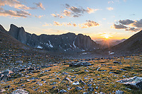 Sunset over Middle Fork Basin seen from Noel Lake on the continental Divide. Pronghorn Peak is on the left. Bridger Wilderness, Wind River Range Wyoming