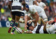 England No.8 Josh Beaumont (Sale Sharks) tries to steal the ball from Barbarians wing David Smith (Toulon) during the International Rugby Union match England XV -V- Barbarians at Twickenham Stadium, London, Greater London, England on May  31  2015. (Steve Flynn/Image of Sport)