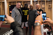 Houston, Texas - February 19, 2016: (L to R) Ryan Fireman, Kimbo Slice, Mike Tyson and Royce Gracie pose for a photo in the locker room during Bellator 149 at the Toyota Center in Houston, Texas on February 19, 2016. (Cooper Neill for ESPN)
