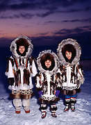 The Rexford family wearing Eskimo Parkays made by Nora Rexford, Arctic Ocean Coast, Barrow, Alaska.  <br /> Note:  Use of this image requires an extra licensing fee to be paid to the Rexford family.  Contact Fred Hirschmann for information