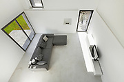 Architecture, interior of a modern house, living, top view