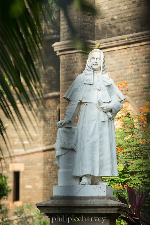 Close-up of statue erected to memory of Sir Laurence Huge Jenkins barrister and chief justice of High court of India