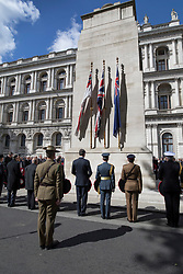 © Licensed to London News Pictures. 25/04/2017. London, UK. Dignitaries attend the ANZAC Day ceremony at the Cenotaph in Whitehall. A dawn ceremony and service was held at The Australian War Memorial and The New Zealand War Memorial at Hyde Park Corner.  April 25th is the day that Australia and New Zealand remember the dead of all wars. Photo credit: Peter Macdiarmid/LNP