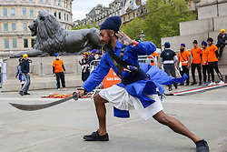 April 27, 2019 - London, UK, United Kingdom - A member of Gatka - The Sikh Martial Art seen performing martial arts at Trafalgar Square during the festival..The Vaisakhi Festival is a religious festival that marks the Sikh New Year. This year's celebrations took place on 14 April which commemorates the beginning of Sikhism as a collective faith and London's celebrations are an opportunity for people from all communities, faiths and backgrounds to experience a festival that is celebrated by Sikhs who live in the capital and over 20 million people across the world. (Credit Image: © Dinendra Haria/SOPA Images via ZUMA Wire)