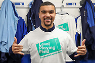 AFC Wimbledon striker Kweshi Appiah (9) wearing Level Playing Field T shirt during the EFL Sky Bet League 1 match between AFC Wimbledon and Bolton Wanderers at the Cherry Red Records Stadium, Kingston, England on 7 March 2020.