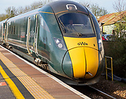 GWR Intercity Express train arriving at platform Chippenham railway station, Wiltshire, England, UK - Main Line from South Wales to London