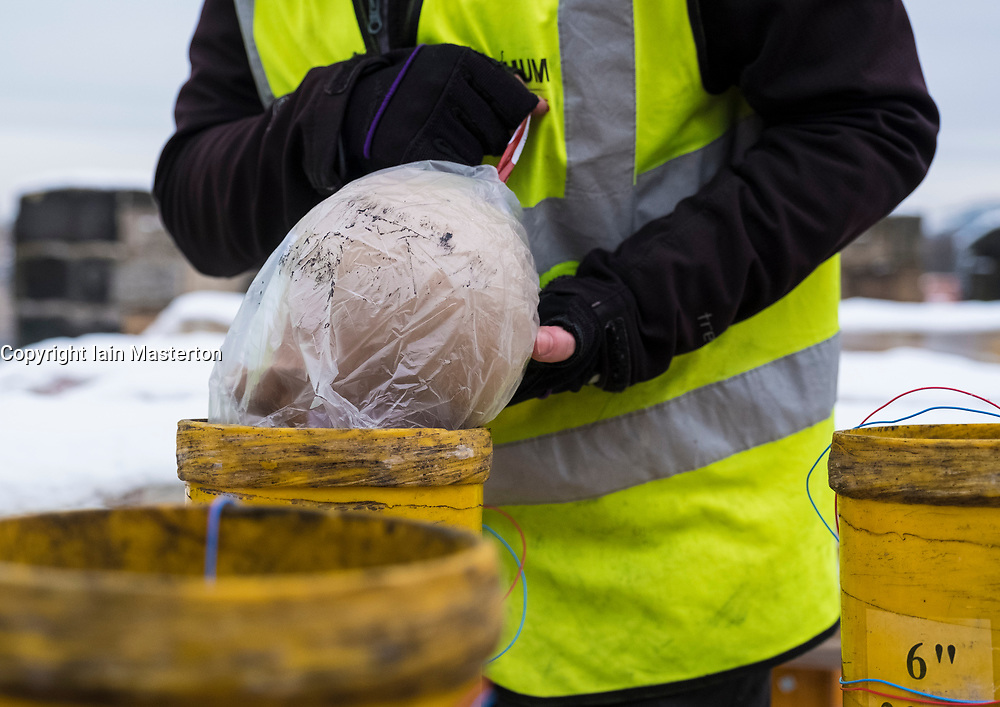 Edinburgh, Scotland, United Kingdom. 29 December, 2017. Pyrotechnicians from Titanium Fireworks demonstrate large fireworks and launching tubes at Edinburgh Castle ahead of the annual Hogmanay fireworks display on New Years Eve. Here a 150mm shell is shown being installed This is the largest shell used in the display.