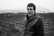 Don McDermott at his vineyard near the Dalles along the Columbia River.  Don is concerned about the amount of coal being deposited in his vineyards and along his property from the coal trains.