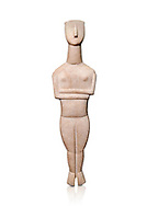 Cycladic Canonical type, Spedos variety female figurine statuette from Naxos or Keros. Early Cycladic Period II, (2800-2300 BC), 'Goulandris Master'.  Museum of Cycladic Art Athens,  Against white.<br /> <br /> The 'Goulandris Master' was named because of the N.P Goulandris collection which had a significat number of Cycladic figureines attributed to one sculptor. The characteristic traits of his work are : statues of 32 to 98 cm tall, precise incisions demarcating the neck, the abdomen and pubic triangle asv well as knees and spinal column, the statues have a rounded outline. Traces of colour were found on the statue.