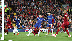 Chelsea's Emerson Palmieri scores his side's first goal of the game during the Carabao Cup, Third Round match at Anfield, Liverpool.