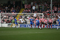 Photo: Pete Lorence.<br />Lincoln City v Stockport County. Coca Cola League 2. 07/04/2007.<br />Anthony Pilkingtom fires the ball in from a free kick, but to no avail.