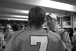 26 April 2009: North Carolina Tar Heels head coach Joe Breschi and midfielder Tyler Morton (7) during a 15-13 loss to the Duke Blue Devils during the ACC Championship at Kenan Stadium in Chapel Hill, NC.